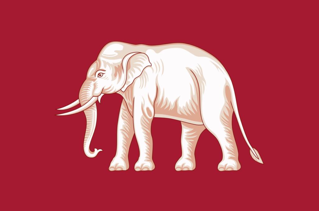 drapeau Thai 1830 rouge elephant blanc